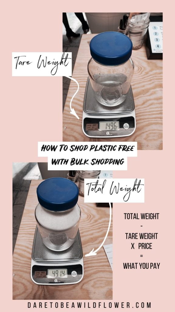how to shop plastic free with bulk shopping. total weight - tare weight X price = what you pay